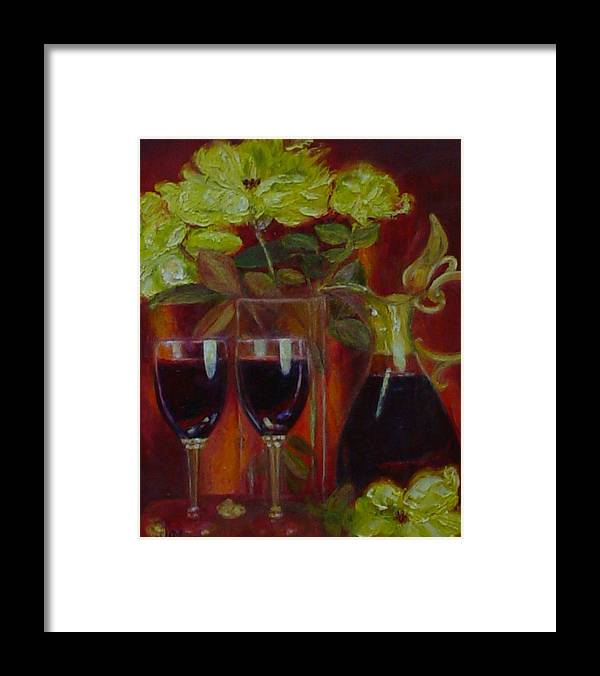 Yellow Roses Framed Print featuring the painting Lindeman's Merlot by Helen Musser