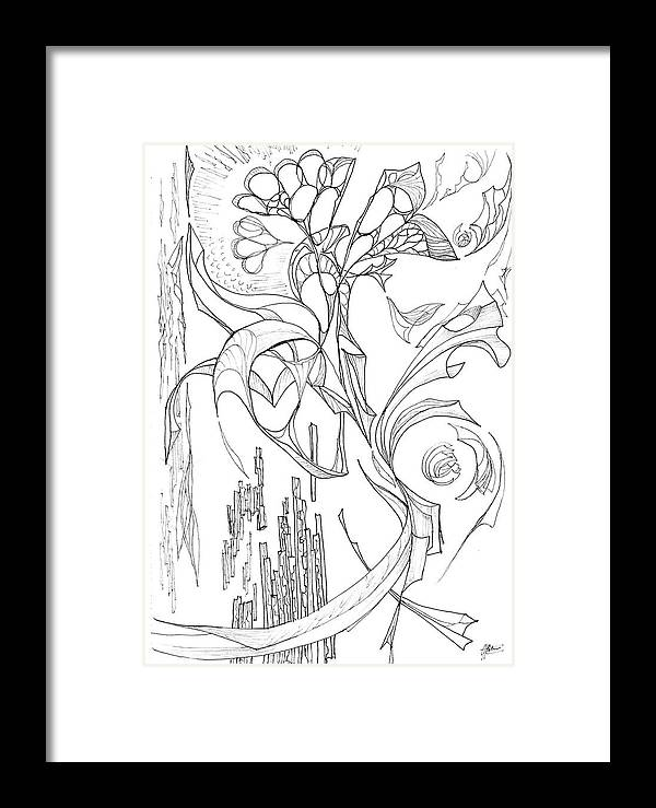 line 3 Botanic Botanical Blackandwhite Black And White Zentangle Zen Tangle Abstract Acceptance Circles Comfort Comforting Detailed Drawing Dreams Earth Framed Print featuring the painting Flowing Floating Flora by Charles Cater