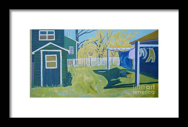 Backyard Framed Print featuring the painting Line Of Wash by Debra Bretton Robinson