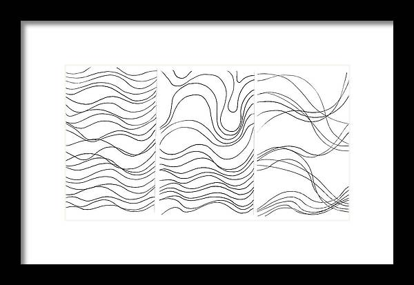 Art Created With Lines Framed Print featuring the digital art Lines 1-2-3 Black On White by Helena Tiainen
