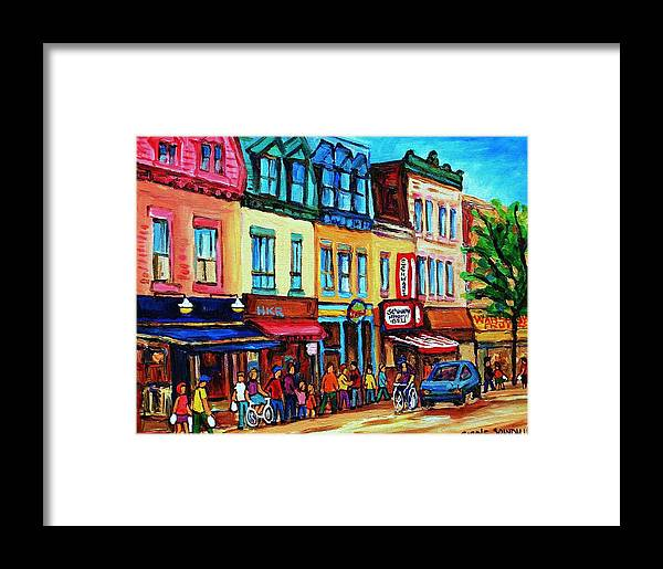 Cityscape Framed Print featuring the painting Lineup For Smoked Meat Sandwiches by Carole Spandau