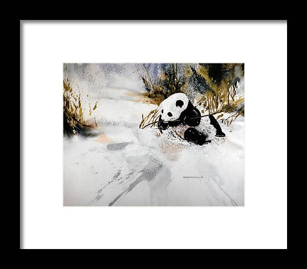 Panda Framed Print featuring the painting Ling Ling by Dale Cooper
