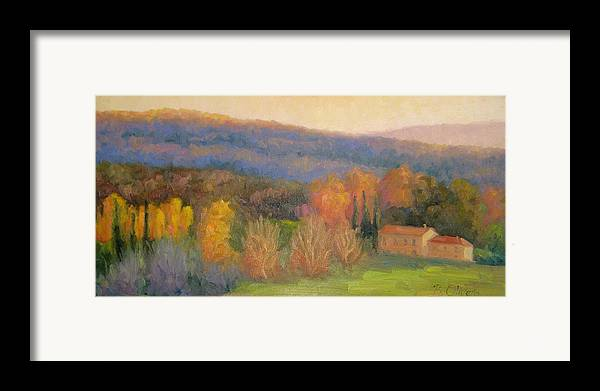 Tuscany Framed Print featuring the painting Lingering Light - Tuscany by Bunny Oliver