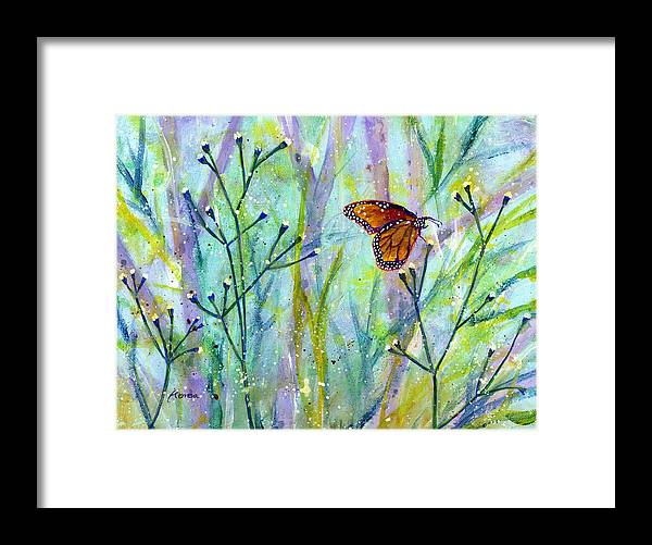 Butterfly Framed Print featuring the painting Lingering Memory 1 by Hailey E Herrera