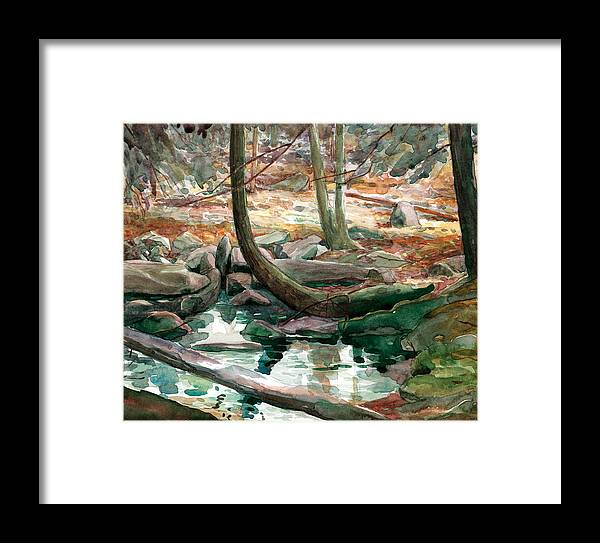 Mountain Pool Framed Print featuring the painting Lingle Stream by Jeff Mathison