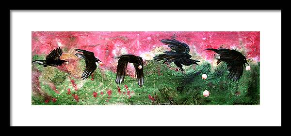 Raven Framed Print featuring the painting Linking Fancy Unto Fancy by Sandy Applegate