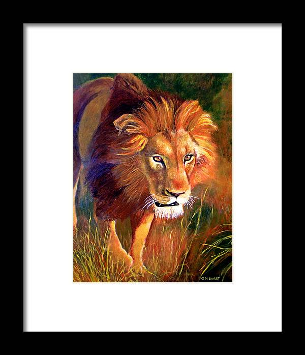 Lion Framed Print featuring the painting Lion At Sunset by Michael Durst