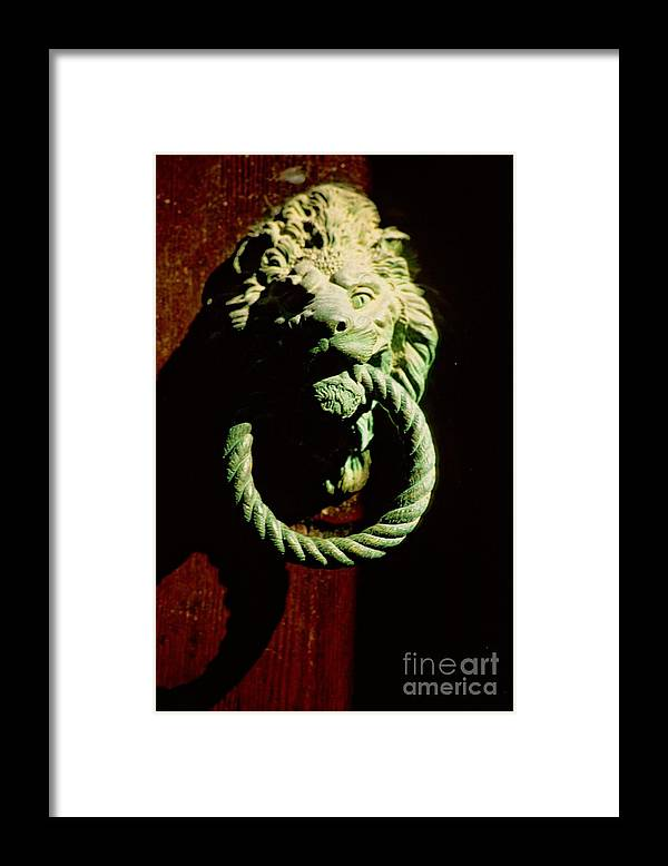 Venice Framed Print featuring the photograph Lion Door Knocker In Venice by Michael Henderson