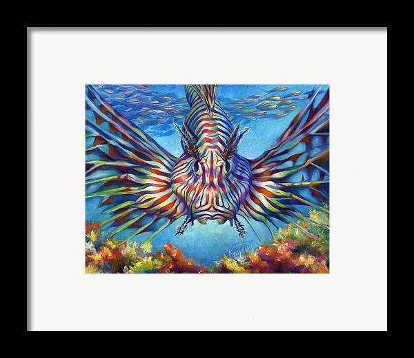 Lion Fish Framed Print featuring the painting Lion Fish by Nancy Tilles