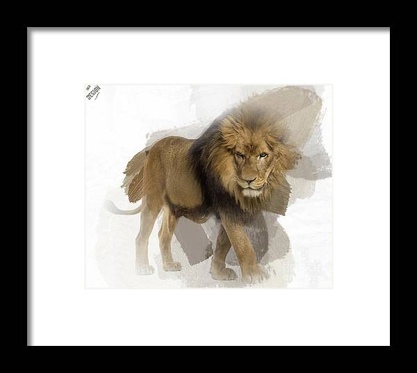 Imia Design Framed Print featuring the digital art Lion Lion Lion by Maria Astedt