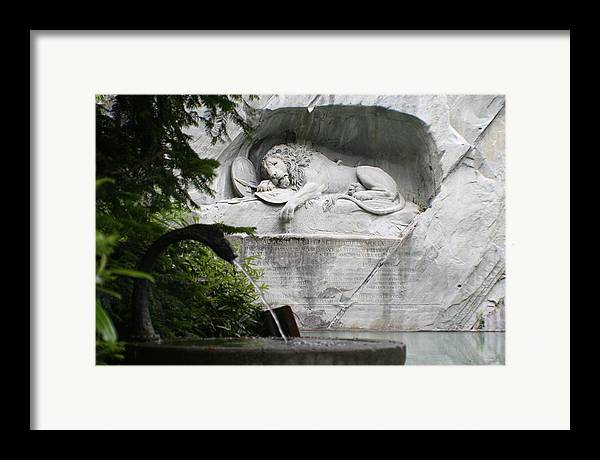 Switzerland Framed Print featuring the photograph Lion Monument Lucerne Switzerland by Greg Sharpe