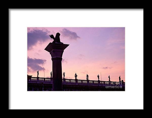 Venice Framed Print featuring the photograph Lion Of Veniceagainst Evening Sky by Michael Henderson