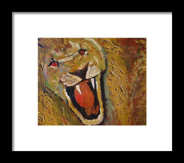 Lion Framed Print featuring the painting Lion one by J Bauer