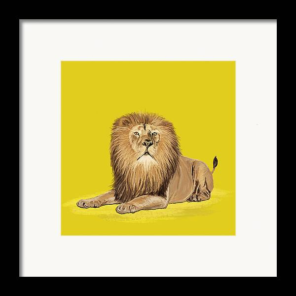 Africa Framed Print featuring the painting Lion Painting by Setsiri Silapasuwanchai