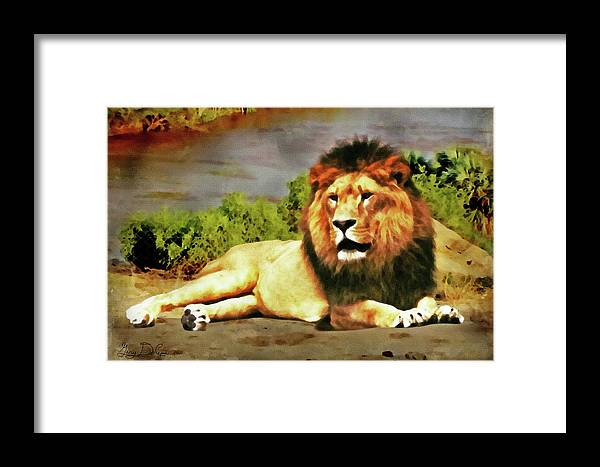 Paintings Framed Print featuring the digital art Lion Resting by Gary De Capua