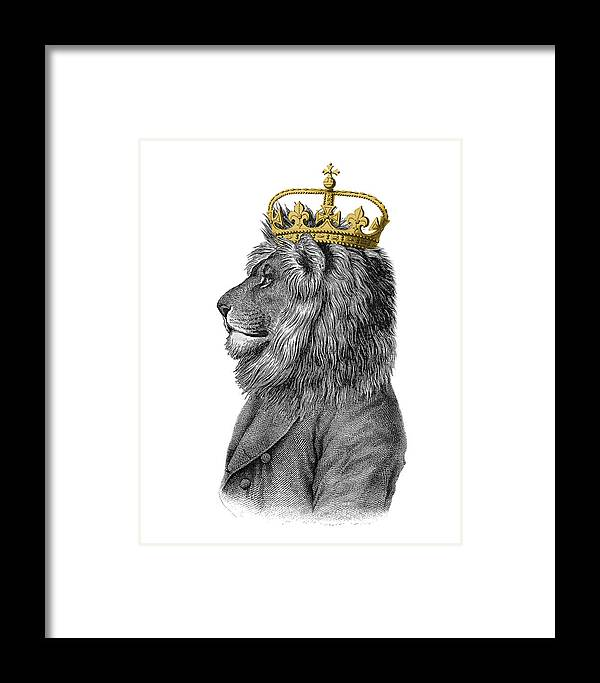 Lion Framed Print featuring the digital art Lion The King Of The Jungle by Madame Memento