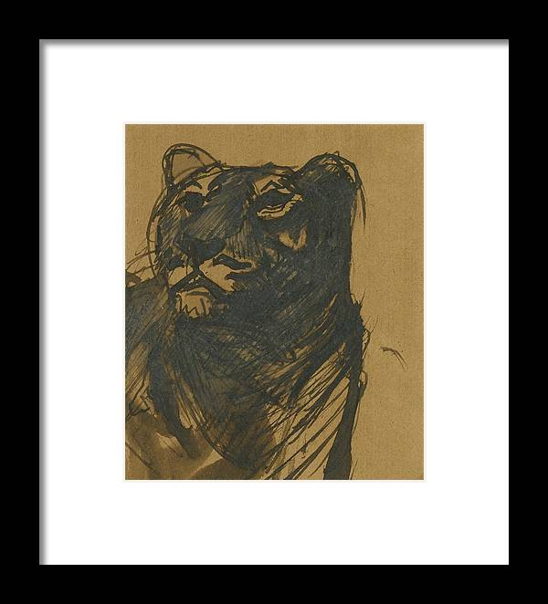 Franz Marc 1880 - 1916 L�win (lioness) Framed Print featuring the painting Lioness by Franz Marc