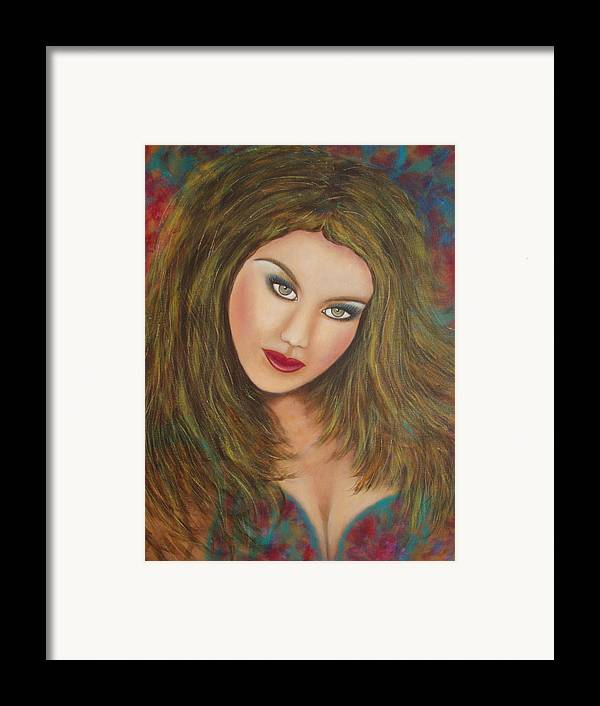 Portrait Framed Print featuring the painting Lioness by Natalie Holland