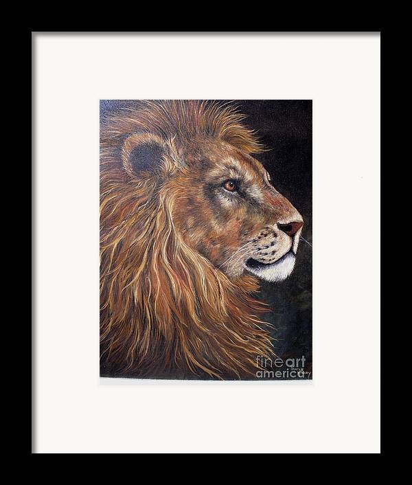 Lion Framed Print featuring the painting Lions Portrait by Pamela Squires