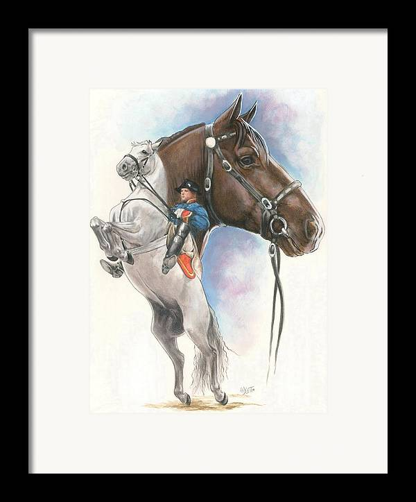 Spanish Riding School Framed Print featuring the mixed media Lippizaner by Barbara Keith
