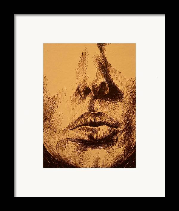 Portrait Framed Print featuring the drawing Lips Are Beautiful by J Oriel