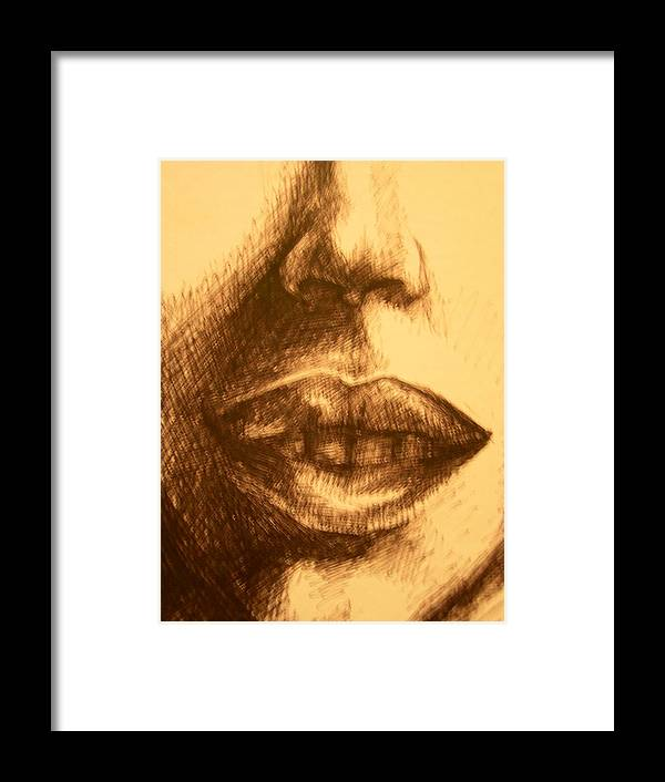 Lips Framed Print featuring the drawing Lips by J Oriel