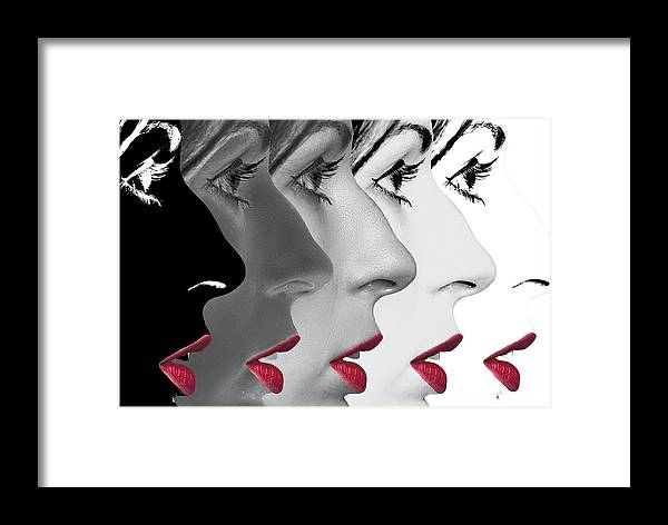Lips Framed Print featuring the digital art Lipstick by Alistair Cowan