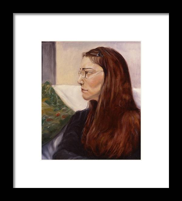 Woman Framed Print featuring the painting Lipstick by John Clum