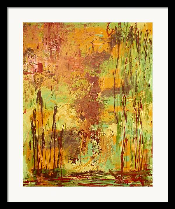 Abstract Framed Print featuring the painting Liquid Bronze by Maritza Bermudez