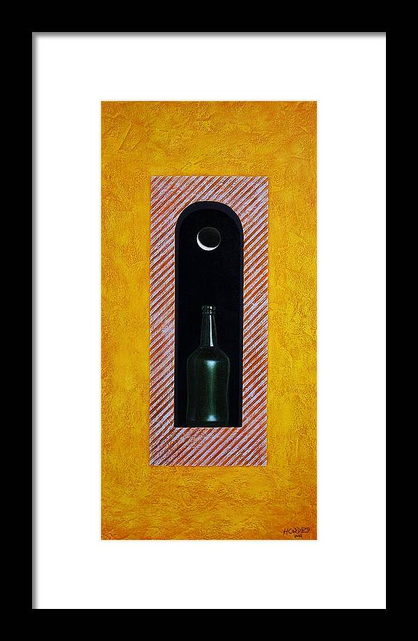 Bottle Framed Print featuring the painting Liquid Moonlight by Horacio Cardozo