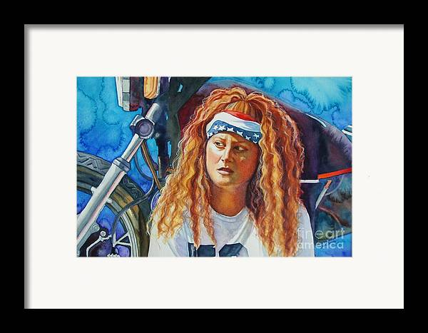 Portrait Framed Print featuring the painting Lisa's Ride by Gail Zavala