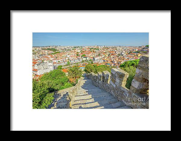 Lisbon Framed Print featuring the photograph Lisbon Aerial Portugal by Benny Marty