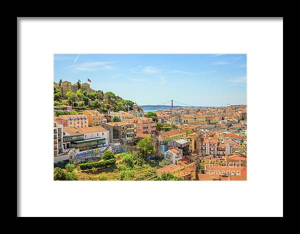 Lisbon Framed Print featuring the photograph Lisbon Aerial View by Benny Marty
