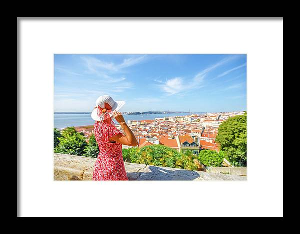 Lisbon Framed Print featuring the photograph Lisbon Castle Woman by Benny Marty