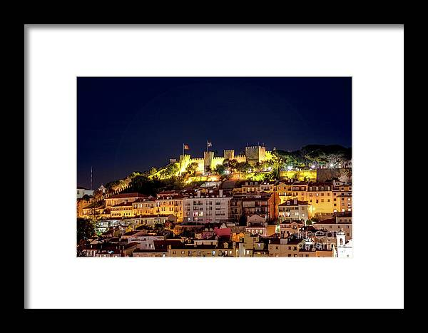 Lisbon Framed Print featuring the photograph Lisbon Night Background by Benny Marty
