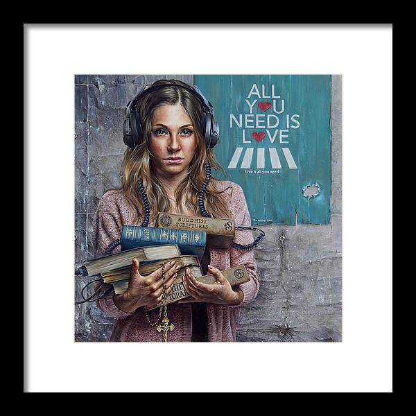 Painting Framed Print featuring the painting Listen 2 by Brent Schreiber