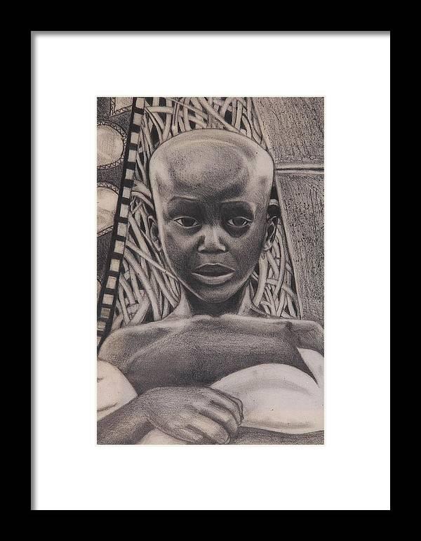 Malik Seneferu Framed Print featuring the drawing Listen To My Eyes by Malik Seneferu
