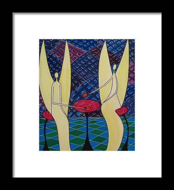 Angels Having Cofee Framed Print featuring the painting Lite Tea by Sandra Marie Adams