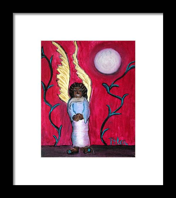 Beautiful Black Angel With Long Gold Wings Framed Print featuring the painting Little Angel by Pilar Martinez-Byrne