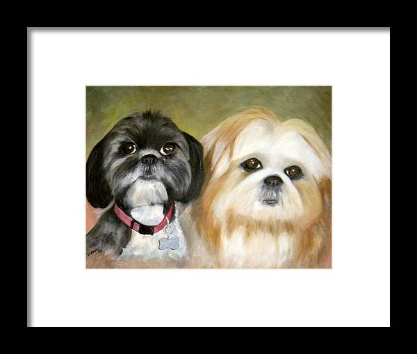 Pets Framed Print featuring the painting Little Angels by Merle Blair