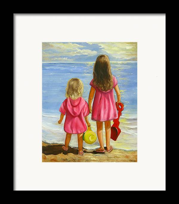 Child Framed Print featuring the painting Little Beachcombers by Joni McPherson