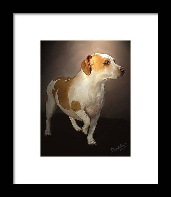 Staffordshire Terrior Framed Print featuring the painting Little Bit by David Wagner