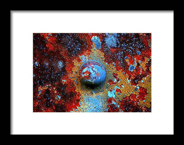 Rusty Rivet Photograph Framed Print featuring the photograph Little Blue Planet by Susan Moore