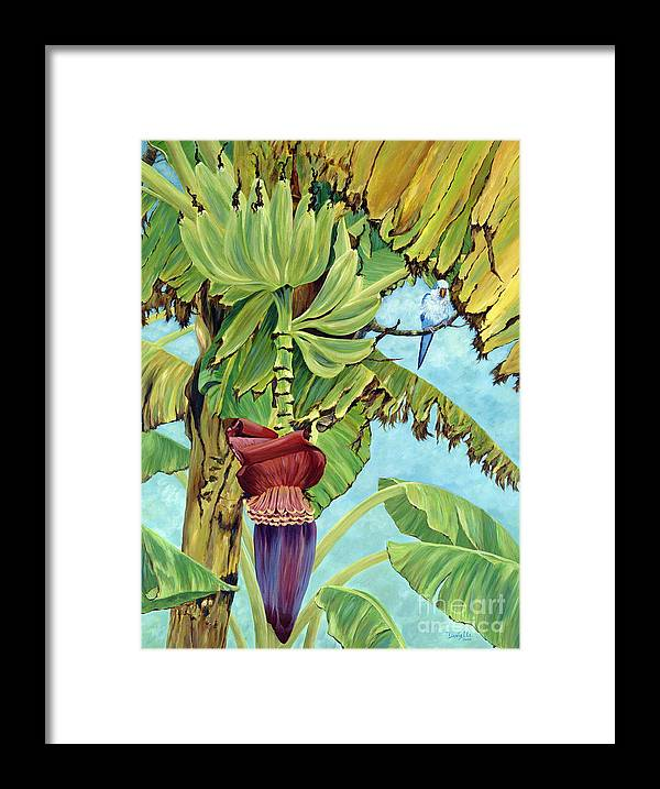 Tropical Framed Print featuring the painting Little Blue Quaker by Danielle Perry
