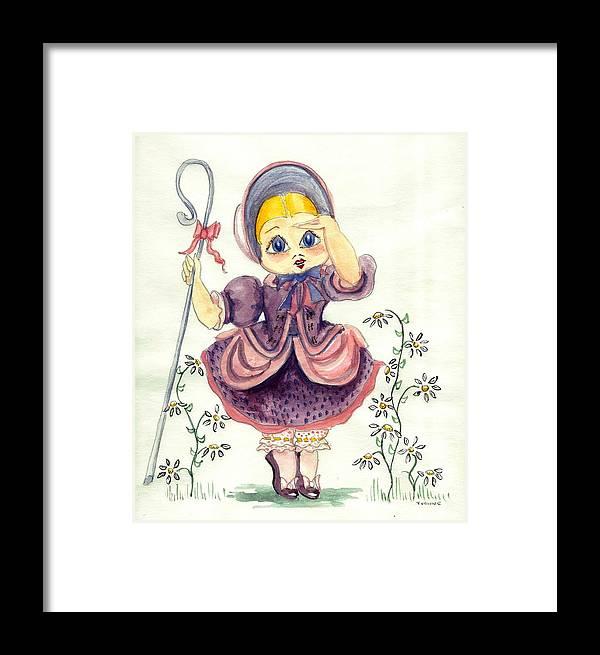 Nursery Rhyme Framed Print featuring the painting Little Bo Peep by Yvonne Ayoub