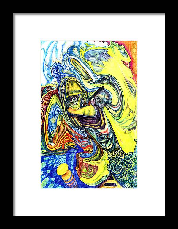Abstract Framed Print featuring the mixed media Little Boy Blue by James Hammons