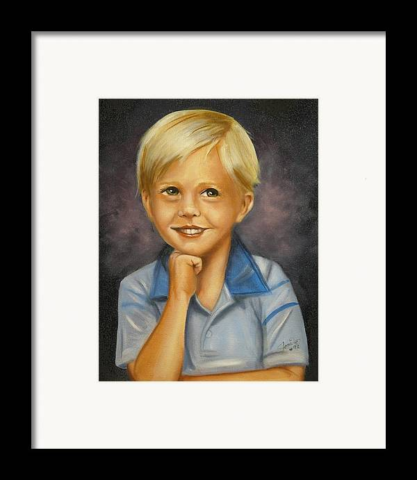 Portrait Framed Print featuring the painting Little Boy Blue by Joni McPherson