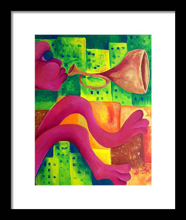 Vivid Contemporary Abstract Framed Print featuring the painting Little Boy Blue by Shasta Miller