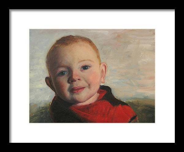 Portraits Framed Print featuring the painting Little boy in red by Chris Neil Smith