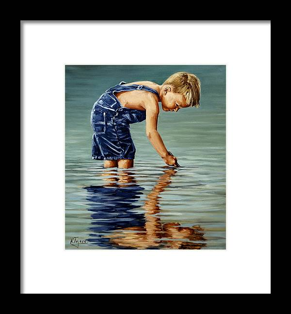 Guy Framed Print featuring the painting Little boy reflection by Natalia Tejera